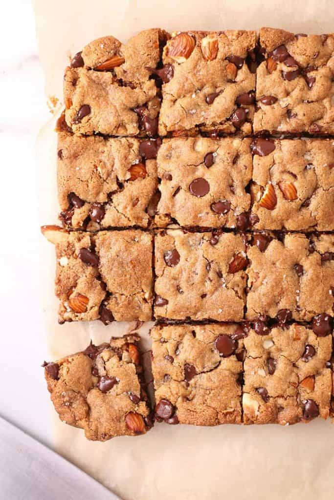 Vegan bars cut into squares