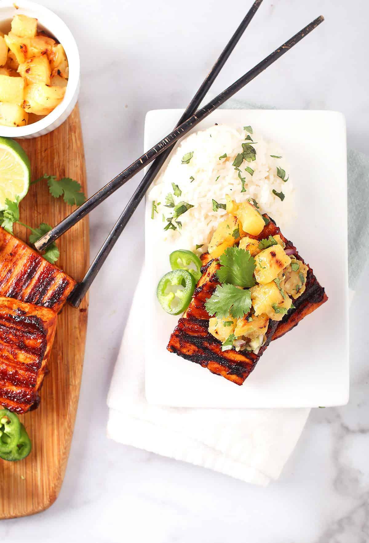 BBQ Tofu Steaks with Pineapple Salsa