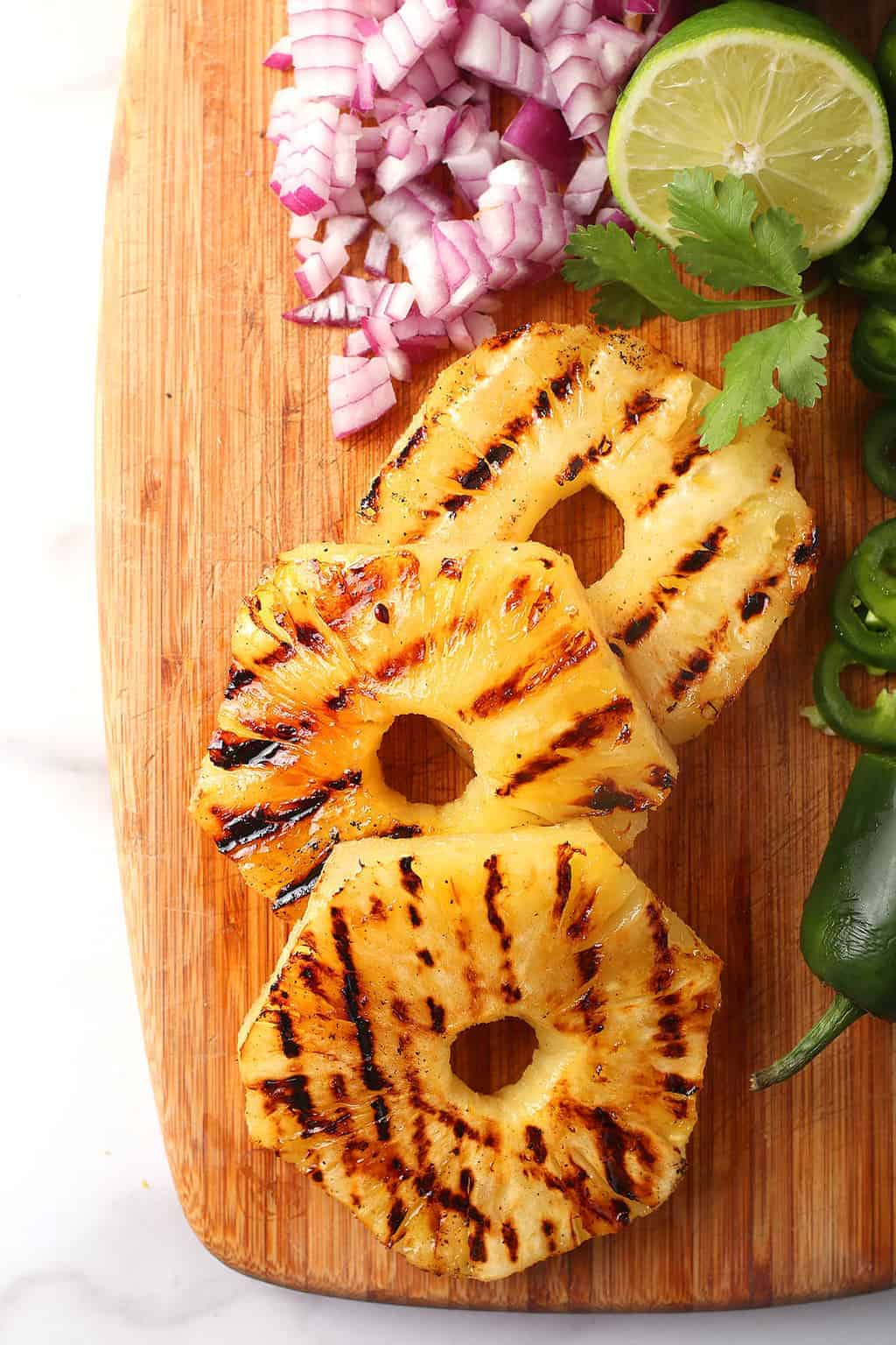 Grilled Pineapple on a cutting board