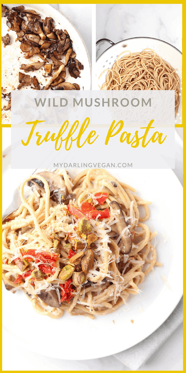 You're going to love this Wild Mushroom Pasta with Pistachio Cream Sauce. It's crispy sautéed mushrooms and sun-dried tomatoes tossed with truffle cream sauce. So good! Finish it with Truffle Salt for a delicious vegan and gluten-free meal.