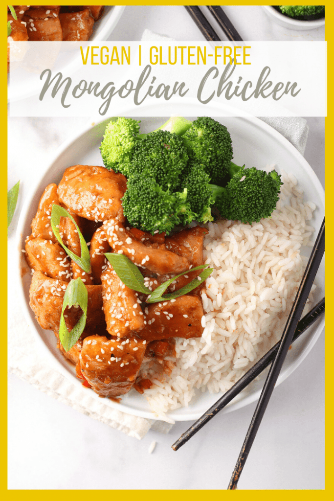 Skip takeout and make this amazing Vegan Mongolian Chicken! It's crispy vegan chicken cooked in a sweet and savory sauce and served over rice and steamed broccoli for a better-than-takeout, 30-minute meal.