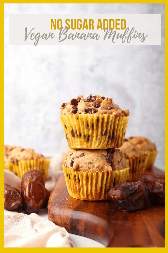 These healthy vegan banana muffins are sweetened naturally with dates and bananas for a delicious, moist, and healthy morning or midday sweet bread.