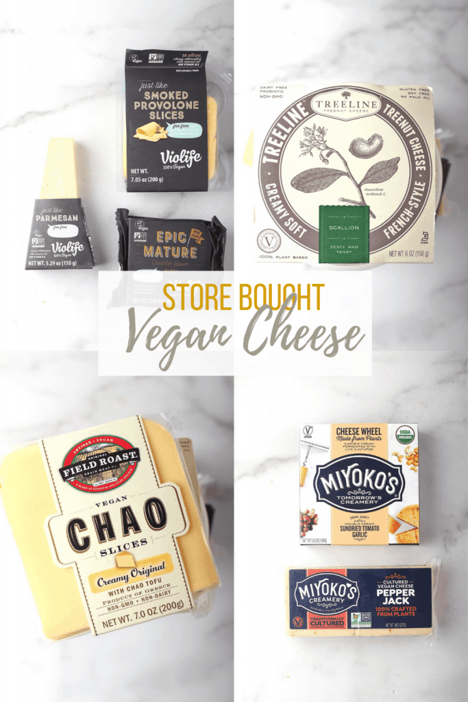 A variety of store bought vegan cheese